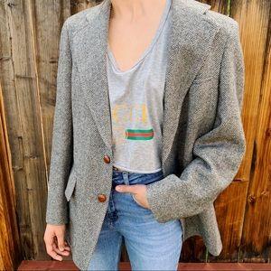 Vintage oversized chevron wool elbow patch blazer